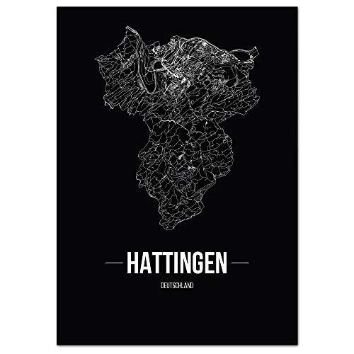 JUNIWORDS Stadtposter, Hattingen, Wähle eine Größe, 40 x 60 cm, Poster, Schrift B, Schwarz