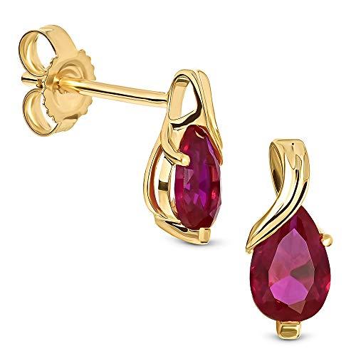 Miore Ohrringe Damen tropfen Ohrhänger mit Edelstein/Geburtsstein Rubin in rot aus Gelbgold 9 Karat / 375 Gold, Ohrschmuck