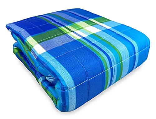 Tex family Colcha acolchada Spring escocesa azul y verde – 2 plazas