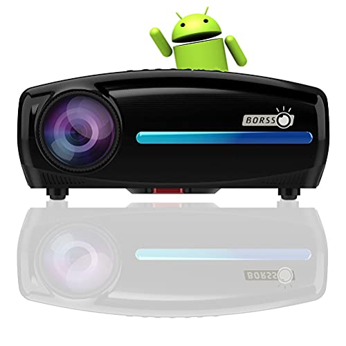 BORSSO Mars 10 Pro, ATV Android 9.0, 2gb Ram with 6500 (ANSI 700) Lumens, Native 1080P, Support 4K UHD 3840*2160, Contrast 15000:1 Similar to DLP Projector, with Google Assistance. Upgraded 2021