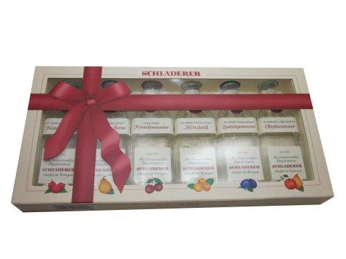 Schladerer Obstbrand Miniaturen Geschenkset 6 x 30 ml Obstwasser Zwetschgenwasser Mirabell Kirschwasser Williams-Birne Himbeergeist