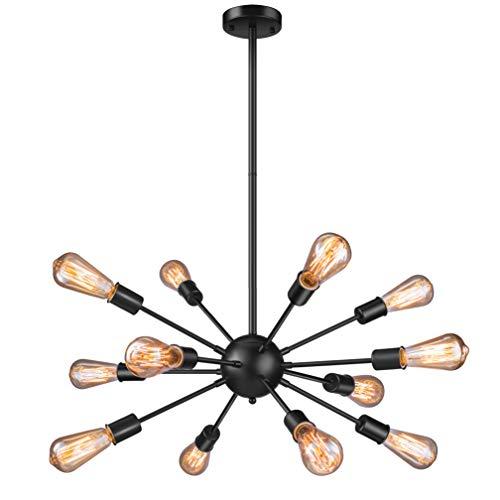 Vintage Pendant Light with 12 UL Sockets, Elibbren E26 Base Modern Black Sputnik Hanging Light Industrial Hanging Pendant Light Fixture for Kitchen Dining Room Bedroom Study Living Room