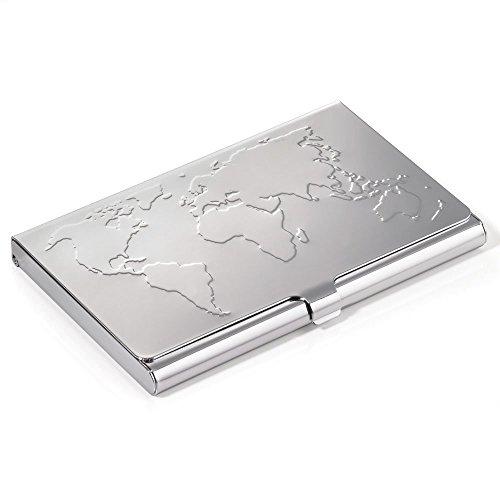 Troika Visitenkartenetui , Weltkartenprägung auf dem Deckel, für ca. 17 Karten, Stahl, glänzend, Silber