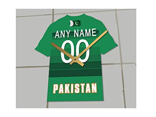 MyShirt123 Internative One Day Cricket-Tame-Uhr – jeder Name, Jede Nummer und jedes Team !, Pakistan Cricket Team Shirt Uhr, 19.5cm x 18cm x 0.5cm
