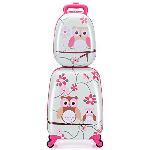 """COSTWAY 2tlg Kinderkoffer + Rucksack, Kindertrolley aus Kunststoff, Kindergepäck, Kinder Kofferset Handgepäck Reisegepäck Hartschalenkoffer für Jungen und Mädchen (Hellgrün, 12""""+16"""")"""