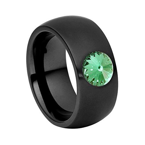 Anillo Heideman Ring Ladies Coma 11 Acero Inoxidable Color Negro Mate para Damas con Blanco Perla Gris Perla o cabujón Negro Tallado en Piedra Preciosa 8mm