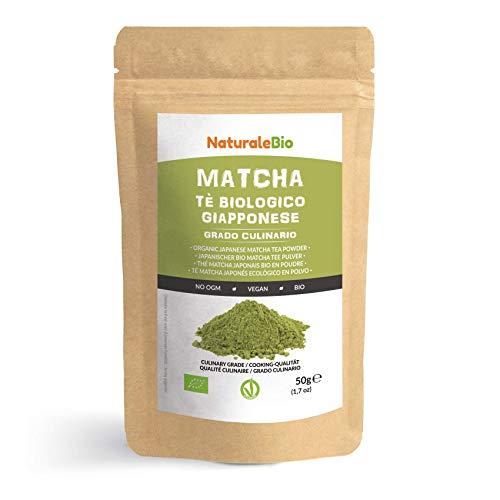 Matcha Tee Pulver Bio [ Cooking-Qualität ] 50 GR. Original Green Tea aus Japan. Japanischer Matcha Ideal zum Smoothies – Shakes - Latte. Tee hergestellt in Japan Uji, Kyoto. NaturaleBio