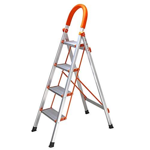 WHOJA Escalera De Acero de 4 Escalones Escalera de Aluminio portátil con reposabrazos de Goma Peldaños Antideslizantes Diseño Plegable para un fácil Almacenamiento Ligera y Resistente