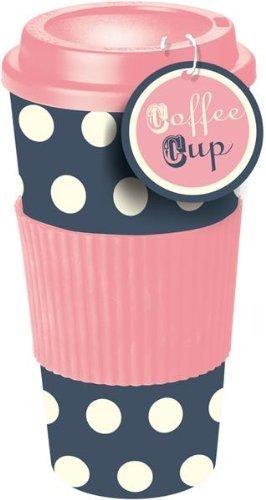 Rosa & Blau Gepunktete Thermo Isolierte Tee Kaffee Tasse Reisebecher Mit Deckel