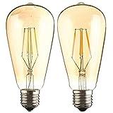 エジソン E26 LED電球 電球 LED 照明 レトロ電球 エジソンバルブ 一般電球 照明 アンティークランプ レトロランプ 室内テーブルライト スタンド デスクライト 玄関 階段 リビングルーム (2個セット)