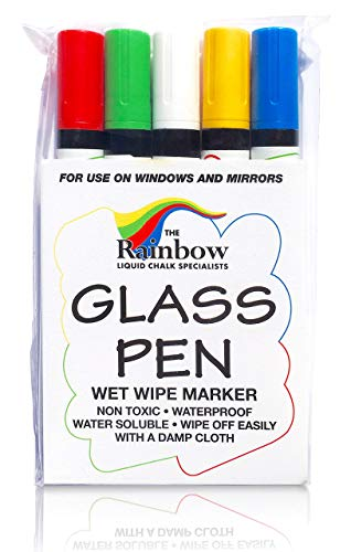 Glass Pen Liquid Paint Marker: Red, Yellow, Blue, Green, White 5 Pack - Glass Writing Pens and Painting Markers with Washable, Erasable Ink - Windows