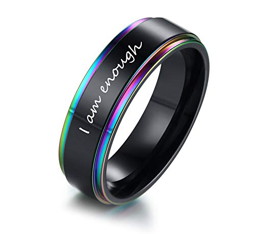 MPRAINBOW I Am Enough Band Ring Inspirational Jewelry-Stainless Steel Black Rainbow Band Ring Motivating Quote Engraving Encouragement Birthday Graduation Frienship Gift for Men Women