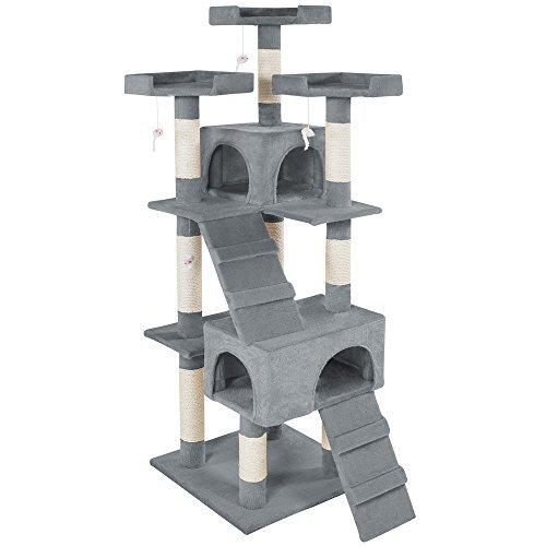 TecTake Rascador Árbol para Gatos Sisal (Gris | No. 400481)