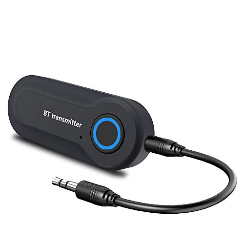 Transmisor Bluetooth 5.0, Adaptador Bluetooth USB, Portátil Bluetooth Audio Baja Latencia con Audio Inalámbrico 3,5MM Cable y RCA 3,5MM Cable para PC/TV/Auriculares/Altavoces/Stereo/MP3/MP4