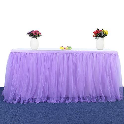 CHIYEEE Tüll Tischrock Tütü Tischröcke Handgefertigte Party Dekorationen Tischdecke für Party, Valentinstagf, Hochzeit, Geburtstag, Candy Bar Violett 9ft(2.75m*0.77m)