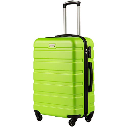 COOLIFE Hartschalen-Koffer Trolley Rollkoffer Reisekoffer mit TSA-Schloss und 4 Rollen(Grün, Mittelgroßer Koffer)
