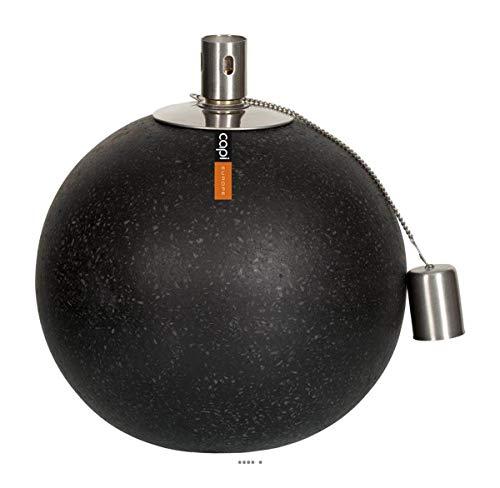 Artificielles.com - Torche sur Socle Fibre et resine Ext. Boule D 15 x H15 cm Noir - dimhaut: H 15 cm - Couleur: Noir