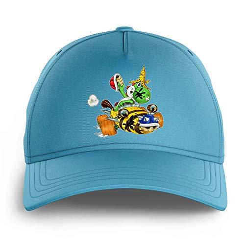 OKIWOKI Mario Kart - Yoshi Lustiges Hellblau Kinder Kappe - Yoshi (Mario Kart - Yoshi Parodie signiert Hochwertiges Kappe - Einheitsgröße - Ref : 665)