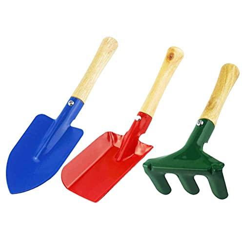 DealMux 3 TLG.Juego de jardín, juego de herramientas de jardín para niños, pala, rastrillo, pala, herramientas de jardín, juguetes de arena, herramientas de jardín, para niños y adultos
