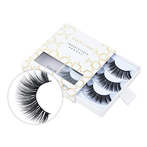 Arison Lashes 3D Falsche Wimpern Wiederverwendbare lange, dicke Wimpern zur Verlängerung der Make-up-Wimpern, 3 Paar handgefertigte dramatische falsche Wimpern (D56)