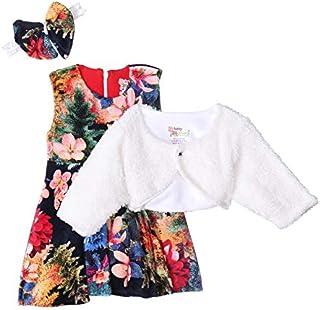 طقم فستان بدون اكمام بنقشة ورود وسوستة خلفية مع جاكيت فرو وتوكة بشكل فيونكة للبنات من بيبي شورا