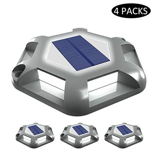 Luci Solari Giardino, T-SUNRISE 6 LED Luci Solari da Esterno Faretti Solari a LED da Esterno IP65 Impermeabile del Terreno Cortile Auto On/Off 4PC(grigio)