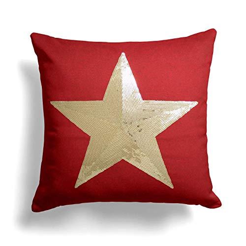 Belfield Sequin Star Cushion Cover, Luxury Felt Christmas Cushion Cover, Modern Sparkle Festive Design, 17' x 17', 43cm x 43cm, Red
