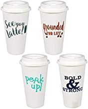 Coffee Cups & Lids, REUSABLE Premium Plastic. Assorted Among Prints. 4 Cups - 17 Oz. Sturdy, Tight-Sealing Sipper Lids. Di...