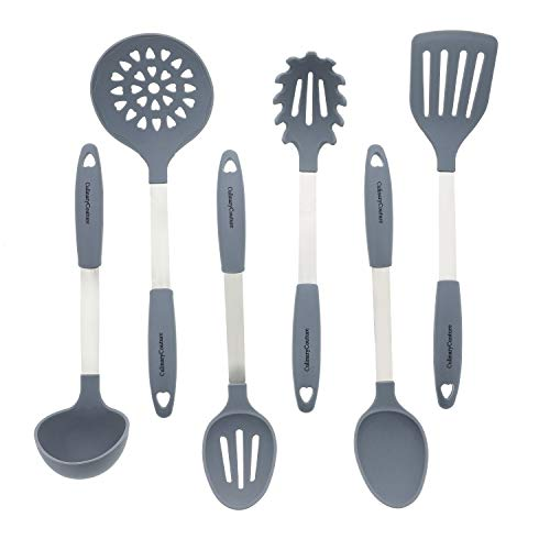 Grey Kitchen Utensil Set - Stainless Steel & Silicone Heat Resistant Cooking Tools - Spatula, Ladle, Mixing & Slotted Spoon,...