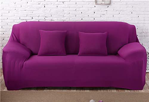 ASHFAT Spandex Modern Solid Color Elastic Sofabezug Polyester Ecksofa Couch Schonbezug Stuhl Protector Wohnzimmer 1/2/3/4 Sitzer 4-Sitzer 235-300cm Candy Purple