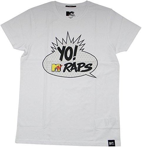 MTV, Mens T-Shirt, Yo! Raps Logo, White, Black, Größe: M, L (S, White)