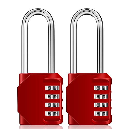 ZHEGE Long Shackle Padlocks 2 Pack, 4 Digit Combination Padlocks for Lockers, Weatherproof Lock Outdoor for Gate, Door, Shed,Fence,Garage, Container, Red