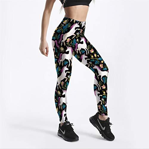 VIDEFS.LEG Leggings Negro Legging para Mujer Fitness Impresión Digital Colorido Caballo Flor Pantalones Lápiz S