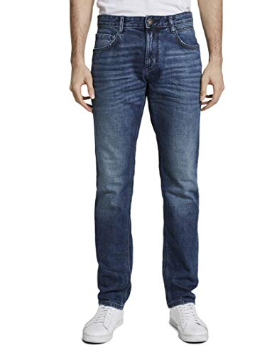 TOM TAILOR Herren Jeanshosen Josh Regular Slim Jeans Used Mid Stone Blue Denim,34/32