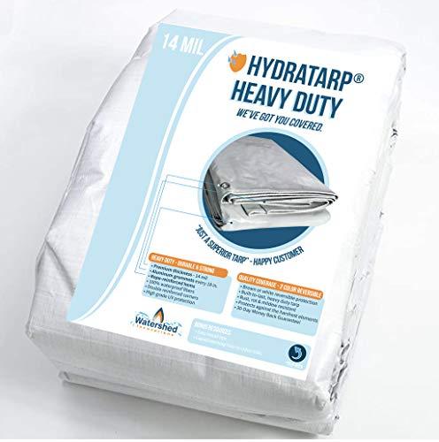 HydraTarp 20ft X 30ft Heavy Duty Waterproof Tarp - 14mil Thick - White / Brown Reversible Tarp
