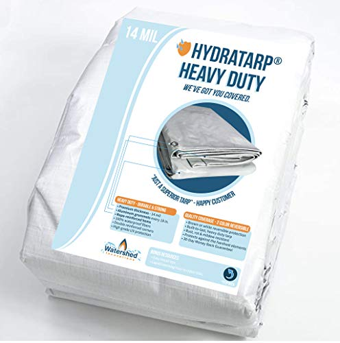 Watershed Innovations HydraTarp 12ft X 40ft Heavy Duty Waterproof Tarp - 14mil Thick - White/Brown Reversible Tarp