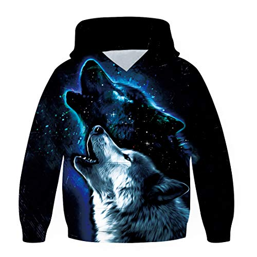 Kids Boys Girls Vivid Galaxy Luminous Wolf Hoodies 3D Printing Graphic Black Blue Pullover Hooded Fashion Casual Street Sweatshirt Tops Age 6-8t for Space Loving Vacation Science Exhibition