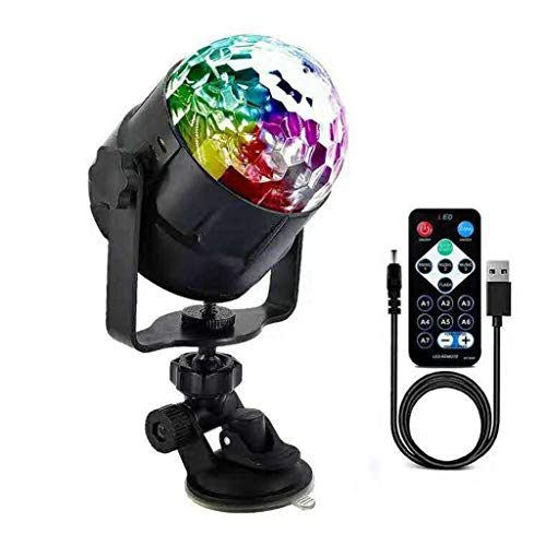 Sound Activated Disco Ball Lights, USB LED Party Stage Lights, Rotating Strobe Lights with Cable and Suction Mount, Remote Control Party Lights for Kids Birthday, Home Party