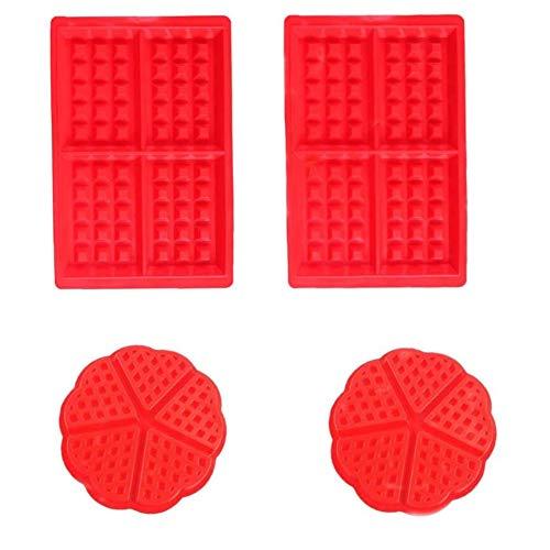 Voarge 4 Stück Silikon Waffeln Backform, Backform Kuchenform Eiswürfelform Schokoladen Süßigkeiten Formen Rot Herz und Rechteckige