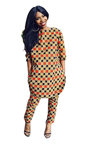 Women's African Print 3/4 Sleeve Tops and Long Pants Set Two Pieces