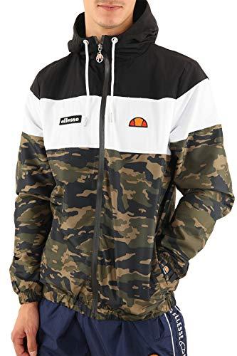 ellesse Zipper Herren MATTAR Track TOP Schwarz Weiß Camouflage Camo, Größe:L