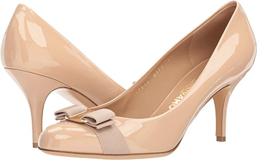 SALVATORE FERRAGAMO Calfskin Mid Heel Pump New Blush Patent 9