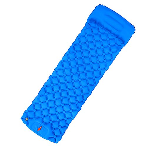 FANG Ultralight Sleeping Mat for Camping,Foot Press Inflatable Sleeping Mat with Pillow,TPU moisture-proof inflatable cushion,for Hiking, Backpacking, Camping, Beach(blue)