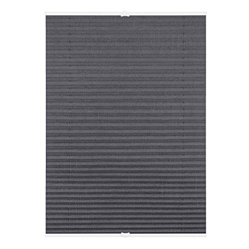 Lichtblick Plissee Klemmfix ohne Bohren, 90 cm x 130 cm (B x L) in Grau, Sicht- und Sonnenschutz, lichtdurchlässig & Blickdicht