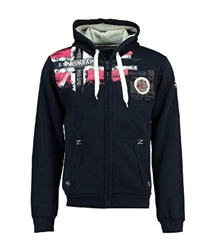 Geographical Norway Herren-Kapuzen-Sweatshirt aus Fleece, mit durchgehendem Reißverschluss Gr. XXXL, marineblau