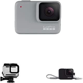 GoPro White – wasserdichte Digitale Actionkamera mit Touchscreen, 10 MP Fotos + Schutzgehäuse für Silver und HERO7 Kamera ABDIV 001 Clear 42 44 + Hülle Trageband (offizielles GoPro Zubehör) Schwarz