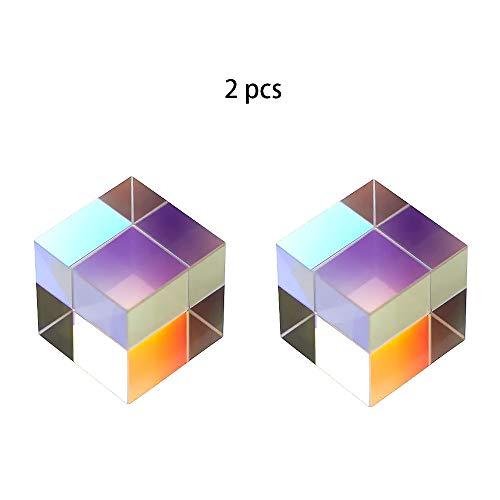 KNDJSPR RGB-Dispersionsprisma aus optischem Glas, K9-Fotoset, 2,5 cm Kristallwürfel, Dekoration für physikalisches Spektrum, für Fotofilterwerkzeuge im Freien
