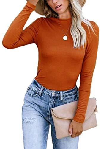 CORAFRITZ Sudadera casual de color sólido con cuello redondo y manga larga para mujer