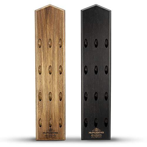 McFARRONS Dart Halter aus Holz für 12 Darts - Praktische Dart Aufbewahrung für die Wand als Zubehör für Jede Art von Dartscheibe - passend für Steeldarts und Softdarts. (Schwarz/Black)