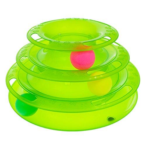 Smartfox Katzen Spielzeug Spielring Spielschiene Spielturm mit Bällen Kreisel Training Aktivspielzeug Beschäftigung in grün